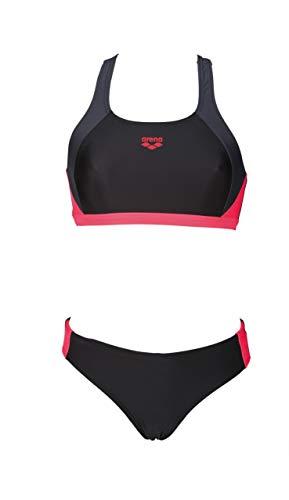 arena W Two Pieces Damen Bikini Ren, 000990, Schwarz (Nero/Deep Grey/Fluo Rosso), 36