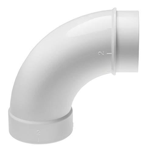 vhbw 90° Rohrbogen, lang, innen/außen passend für Zentral-Staubsaugeranlage, 50.8mm Durchmesser / 2\'\'Rundrohrsystem