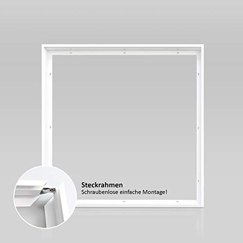 Aufbau Aufputz Steckrahmen Weiß für LED Panel 62x62 cm schraubenlose einfache Montage! Deckenaufbaurahmen Deckenmontage Aufputzrahmen weiß Aluminium Montagerahmen Xtend PL-Z