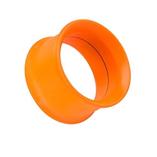 Taffstyle Piercing dilatador para la oreja, de acero inoxidable, multicolor, con cierre de rosca, 3 mm, color naranja neón
