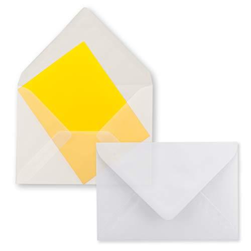 50x durchsichtige Mini Brief-Umschläge - Transparent-Weiß - 5,2X 7,6 cm - Miniatur Kuverts mit Nassklebung für Blumen-Grüße, Grußkarten, Anhänger & Geld-Geschenke - FarbenFroh by GUSTAV NEUSER