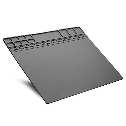 Alfombrilla de reparación resistente al calor 932°F alfombrilla de trabajo de silicona para reparación de aparatos electrónicos, para soldadura reparación, 40X30 CM, color gris