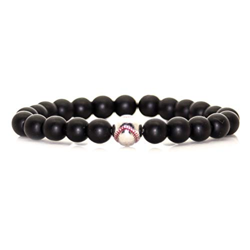 Nsitbbuery Fashion Alloy Baseball Bangle 8MM Onyx Lava Rock Beads Bracelet