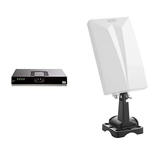 Xoro HRT8720HEVC DVB-T/T2Receiver(HDMI, H.265, kartenloses Irdeto-Zugangssystem) Schwarz & HAN 600 DVB-T2 aktive Kombo Antenne mit eingebautem Verstärker weiß
