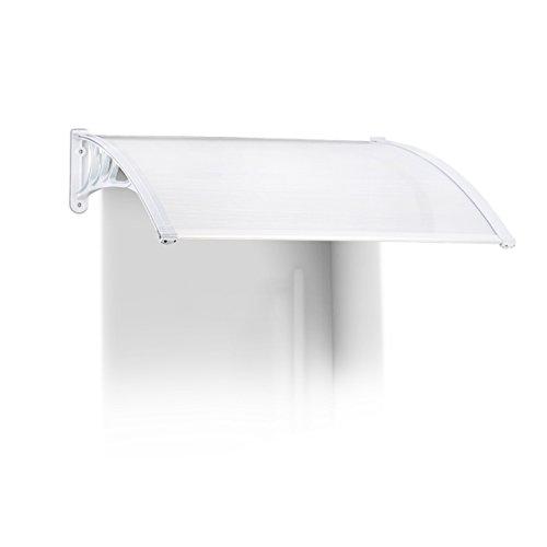 Relaxdays luifel huisdeur, kunststof, aluminium, lessenboogluifel, HxBxD: 100 x 80 cm, overkapping, transparant