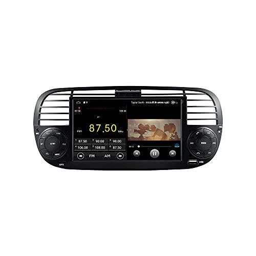 HYCy Android 10 Car Radio Estéreo Navegación GPS Reproductor USB 2G + 16G para 500 2007-2015 Negro
