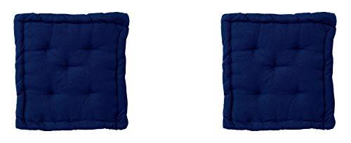 Homevibes Cojín para Silla, Cojin Cuadrado, Juego de 2 Cojines para Suelo o Pallet, Medidas 40 x 40 x 7 cm para Interior o Exterior, Hecho 100% de Algodon, Ideal para Decoración (Azul Marino)