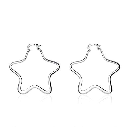 TIANYOU Novedad Joyas-Pendientes de aro plateados plateados para mujer Estrella abierta de plata arete