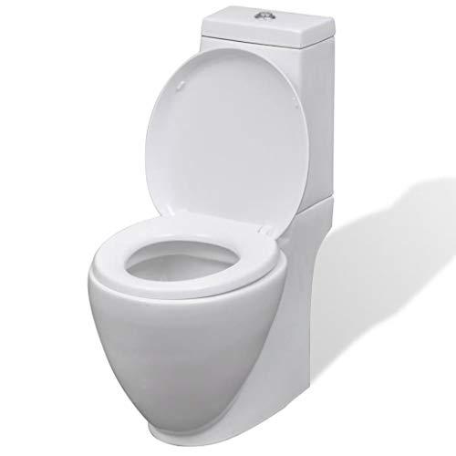 Tidyard Vaso WC Terra in Ceramica da Bagno Rotondo Bianco,Toilette WC Bagno da Terra Bianco