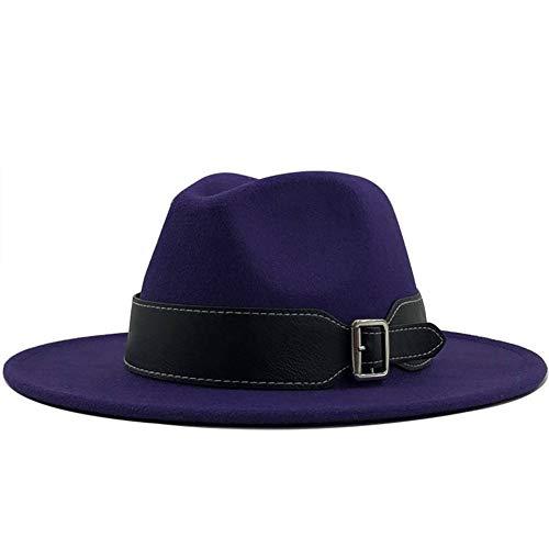 QQSA Sombrero de fieltro para mujer de otoño y invierno, sombrero de lana para hombre y mujer, sombrero de jazz, para bolos, para exteriores, vintage, talla 56 y 58 cm