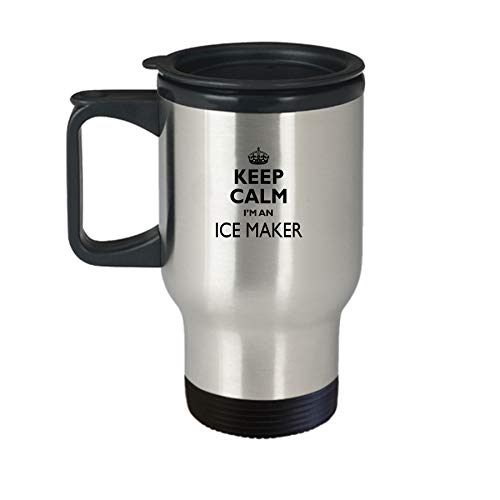 Ice Maker Travel Mug - AA62i Keep Calm Gift Cute Stainless Steel Insulated Tea Coffee Novelty Tumbler With Lid And Handle For Best Ever Coworker Non-Spill 14 oz