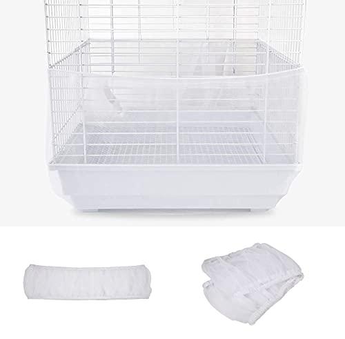 Falda de jaula de pájaros, colector de semillas de aves de malla, cubierta de red airosa de jaula de pájaros, trampas de falda ventiladas de nylon suave Jaula de protección de semillas.(Blanco)