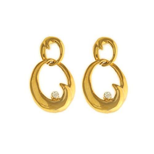Behave® dames ovale hanger oorbellen met strass bungelen laten van onedel metaal - goudkleurig - 3,5 cm maat