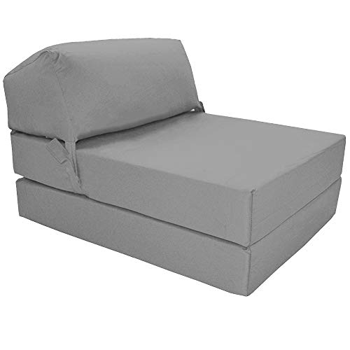 Gilda  Fold Out Chair Z Bed, folding occasional single bed Clean coated Polyester fabric thats water/stain resistant, with bounce back fibre blocks. Indoor/outdoor use for a small adult or kids GREY