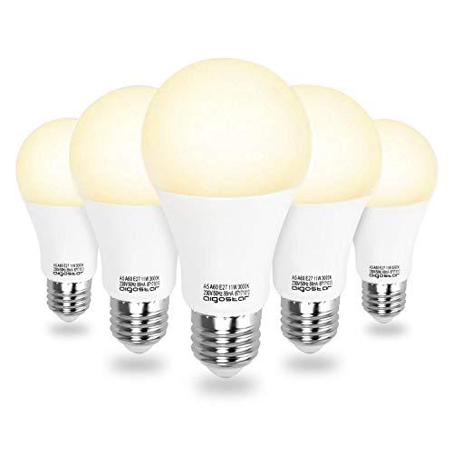 Aigostar - 11 W Bombilla LED A60, Esférica casquillo E27, Luz calida 3000K, 935 lm, Ángulo 280°, no regulable -Pack de 5