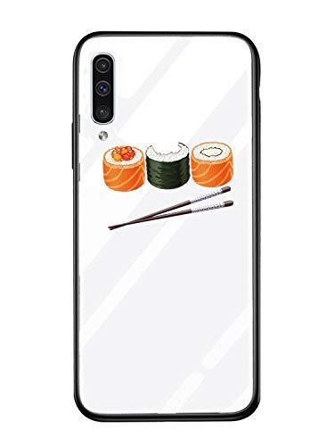 Alsoar Hülle ersatz für Galaxy A50 Hülle,Personalisiert Hülle Kompatibel mit Samsung A50,Ultra Dünn Silikon TPU & Gehärtetes Glas Zurück Design Tasche Schale Kratzfeste Schutzhülle (Sushi)