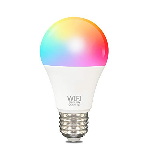 Limón Bombilla LED Inteligente WiFi Focos Inteligentes de Colores Lámpara Dimmable Luces inteligentes Smart Bulb 6500K 9W RGBW 650LM con Remoto Controlado por Amazon Echo Alexa...