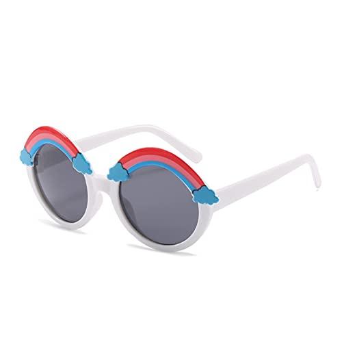 JSJJARD Gafas de Sol Arco Iris Gafas de Sol Chicos Niños Redondos Gafas de Sol Niños Colorido Ojo Lente Bebé Sombras Chicas Rosa Espejo Eyeglasses UV400 Sombra (Lenses Color : C7 White Gray)