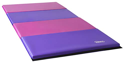 Nimble Sports Folding Gymnastics Mat, Pink and Purple Gym Mat, 8 Feet x 4 Feet
