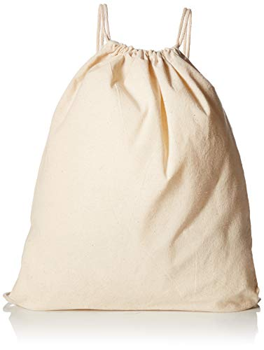 (12 Pack) 1 Dozen - Durable Cotton Drawstring Tote Bags (Natural)