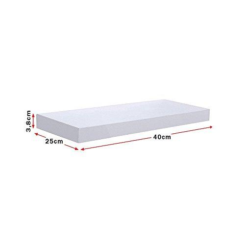 Vetrineinrete® Mensola da Parete Bianca con reggimensola a Scomparsa Kit Montaggio Incluso scaffale in Legno MDF Laccato Bianco Opaco Fissaggio a Muro Varie Dimensioni (40 x 25 cm) G52