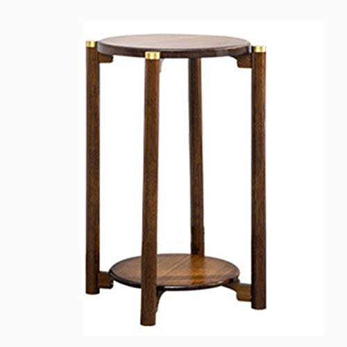 household products 2 Tier Tall Round End Table Plant Stand,floor Standing Flower Pot Rack Bamboo Storage Shelf Sofa Side Table Coffee Table,Vases Pedestal Display Shelf for Terrace Balcony