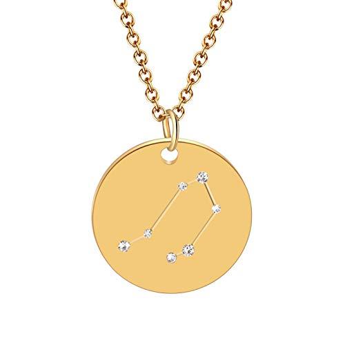 Collar De Doce Constelaciones, Moneda De Metal Dorado, Circonita, Signos del Zodiaco, Colgante, Collar para Mujer, Niña, Encanto, Cumpleaños, Boda, Joyería, Regalo para Ella, Virgo