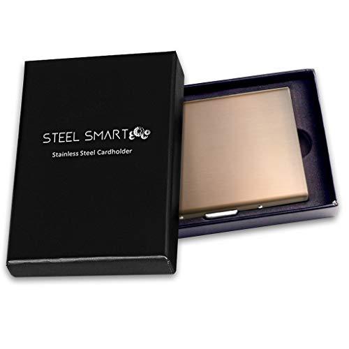 Steel Smart Edles Kartenetui Wallet mit RFID-Blocker (Datenschutz), Kreditkartenetui aus gebürstetem Edelstahl dünn & modern, Geldbörse für Damen & Herren, Tolle Geschenkbox