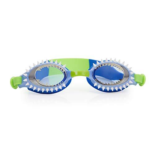 Bling 2O Kids Swimming Goggles - Blue Shark Teeth Swim Goggles for Boys - Anti Fog, No Leak, Non Slip, UV Protection with Hard Travel Case - 8+