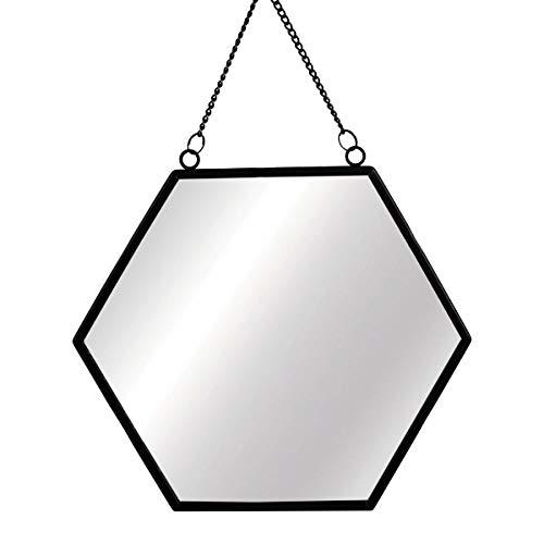Sass and Belle - Espejo hexagonal monocromático, color negro