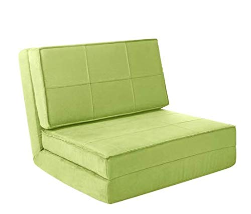 Your Zone - Flip Chair Convertible Sleeper Dorm Bed Couch Lounger Sofa w/Cool Cover Pillow Bundle, Green Glaze