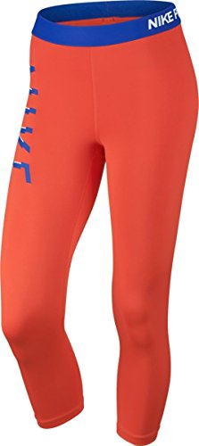 Nike Damen Pro Cool Capri Leggings, Blue/Orange, M