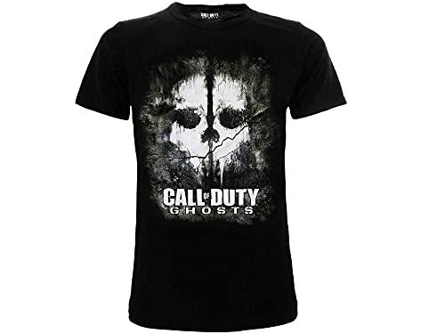 Call of Duty T Shirt Ufficiale Ghost. Maglietta Nera a Maniche Corte. Motivo Skull. Unisex Adulto e Ragazzo. Prodotto su Licenza. (L)