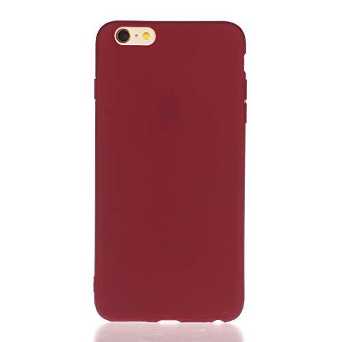 Nodigo Funda Compatible con iPhone 6s/iPhone 6 Silicona Dibujos Motivo Color sólido Creativo Ultrafina Slim One Piece Carcasa Case Antigolpes TPU Bumper Kawaii Resistente Cover - Rojo