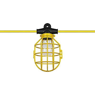 Triangle Bulbs Temporary String/Stand Light, with Plug, Contractor-Grade,Plastic Cage