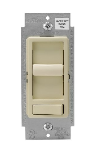 Leviton 6674-P0I SureSlide Universal 150-Watt LED and CFL/600-Watt Incandescent Dimmer, Ivory