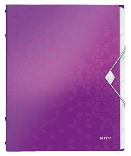 Leitz 46330062 Ordnungsmappe WOW, 6 Fächer, PP, violett