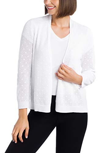 Cable & Gauge Womens Apparel Open Front Overlap Shrug - Mesh Bobble Stitching White