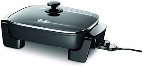 De'Longhi Electric Skillet with Tempered Glass Lid, 16