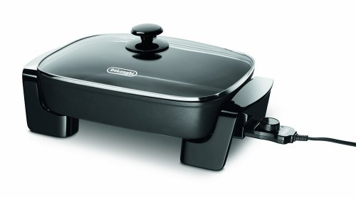 "De'Longhi BG45 Electric Skillet with Glass Lid, 16"" x 12"", Black"