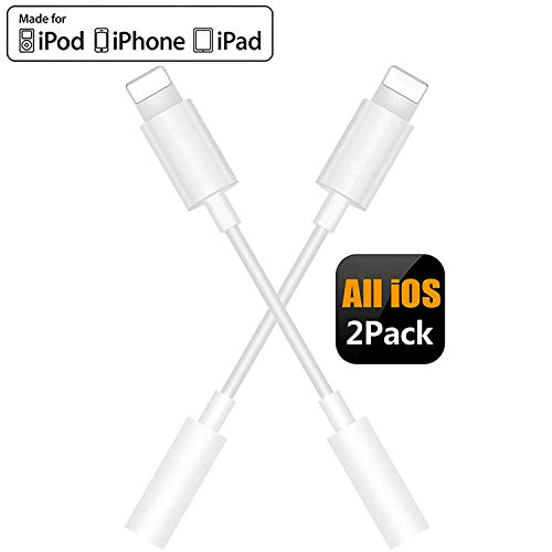 (2 Pack) Hoofdtelefoon Adapter voor iPhone Adapter 3.5mm Jack Headset Connector Converter Headset Accessoires Kabel Audio Splitter Dispenser Compatibel met iPhone7/7Plus /8/8 Plus/XR/XS/XS Max - Wit