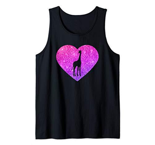 tank teens Cute Giraffe Heart Gift For Girls Teens And Women Tank Top