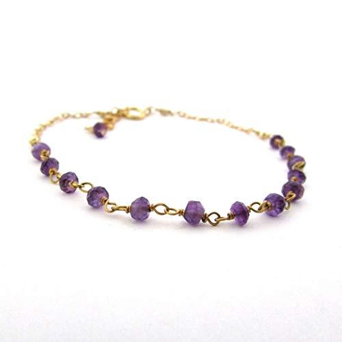 World Wide Gems Pulsera de amatista púrpura y púrpura de 24 quilates chapada en oro de 3 mm, con facetas de 17,78 cm para hombres, mujeres, GF, BF, adultos.