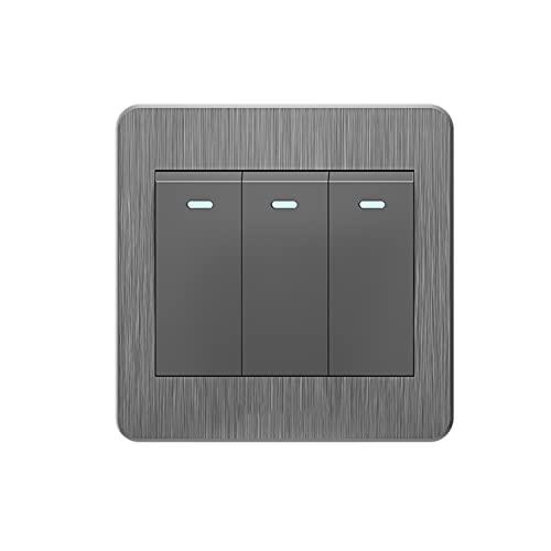 Yoaodpei Panel de interruptores de Dibujo Tridimensional Gris 10A-250V Material de PC ignífugo Interruptor de Dormitorio de Sala de Estar 86 Interruptor basculante Oculto