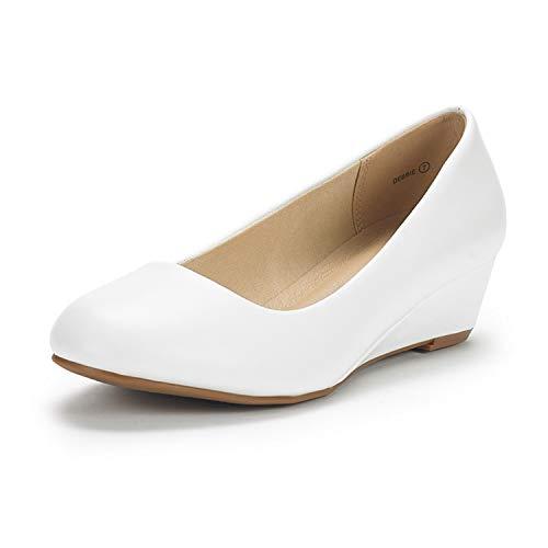 DREAM PAIRS Women's Debbie White Pu Mid Wedge Heel Pump Shoes - 7 M US