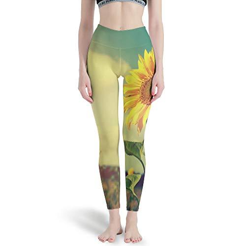 LPLoveYogaShop Damen Leggings Sonnenblumen Sonne Grafik Superweich Yogahosen Gamaschen Freizeitstrumpfhosen für Yoga White 3XL