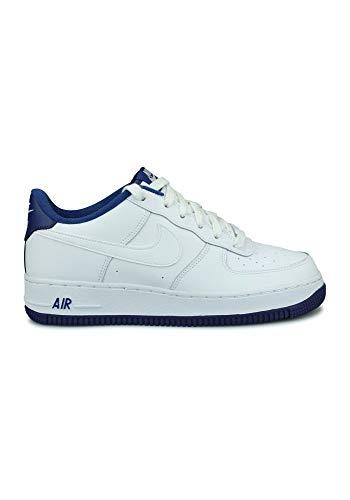 Nike Youth Air Force 1-1 GS Pelle White Deep Royal Blue Formatori 38.5 EU