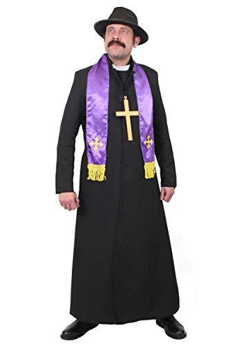 I LOVE FANCY DRESS LTD Adultos Exorcista Traje DE Vestido Chaqueta DE Polvo Negro, Traje DE Sacerdote, Bufanda, Sombrero Negro Y CRUCIFIJO DE Oro Halloween Y Fiestas DE Vestido (X- Grande)