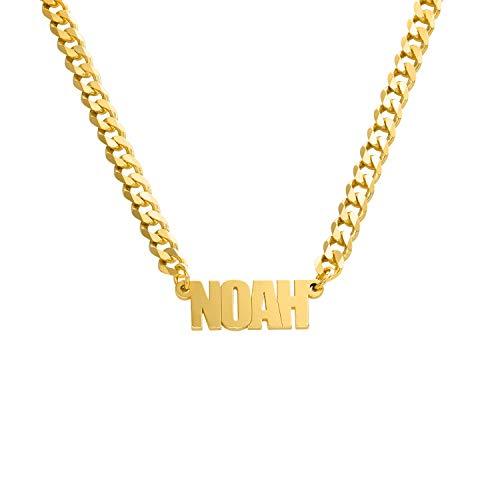 MyNameNecklace - Collar Personalizado con Nombre con cadena gruesa en Plata de Ley .925 - Regalos para Hombre, Regalo para Mujer (Oro Vermeil)