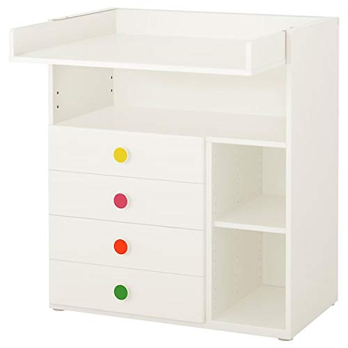 STUVA MÅLAD - Mesa cambiadora con 4 cajones, color blanco, 90 x 79 x 102 cm para uso doméstico y de oficina, combinaciones STUVA Sistema de almacenamiento y organización, respetuoso con el medio ambiente